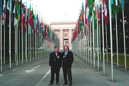 Andy and Ron in the Avenue of Flags, Geneva.